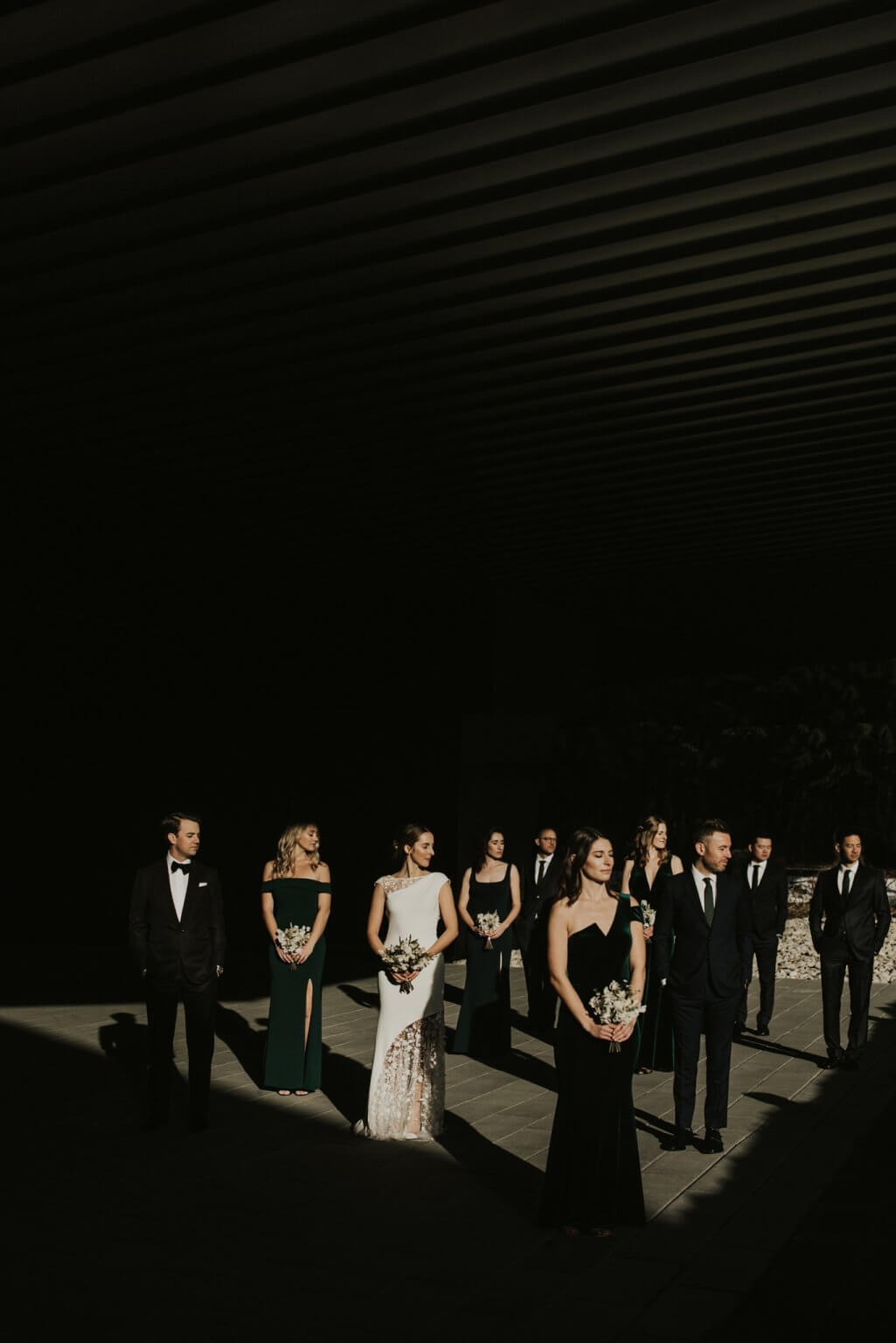 Wedding party portrait at the Audain Museum in Whistler British Columbia photographed by Vancouver photographers Cat and Jeff of The Apartment Photography